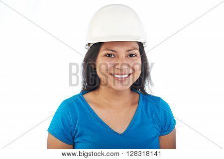 Latino Girl In Hardhat