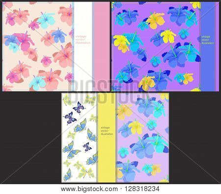 set the pattern to cards with butterflies and hibiscus vector illustration