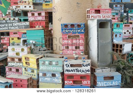 Rio De Janeiro, Brazil - March 06, 2016:  Art Installation, Part Of The Projecto Morrinho Social Pro