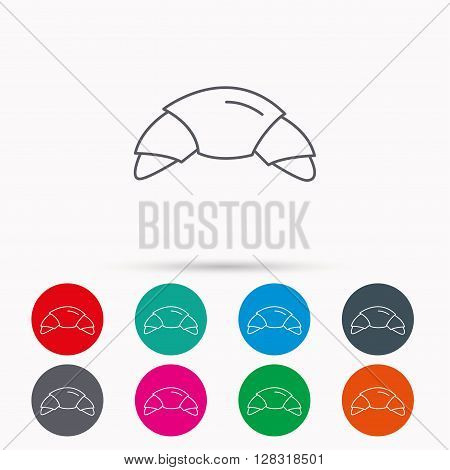 Croissant icon. Bread bun sign. Traditional french bakery symbol. Linear icons in circles on white background.