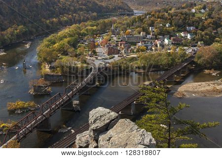The historical town of Harpers Ferry, West Virginia, located at the confluence of the Potomac and Shenandoah Rivers,  as viewed from Maryland Heights.