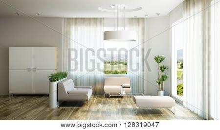 interior design of lounge room, 3d rendering