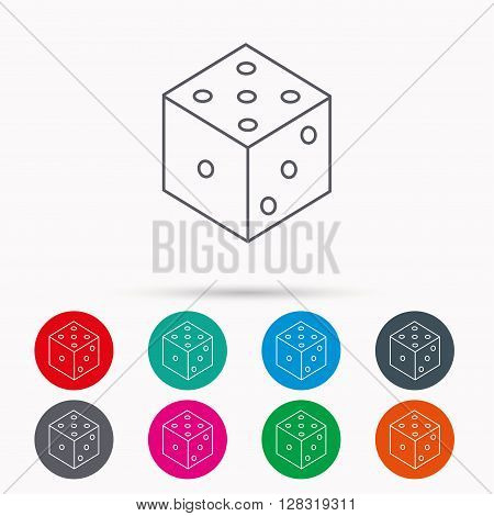 Dice icon. Casino gaming tool sign. Winner bet symbol. Linear icons in circles on white background.