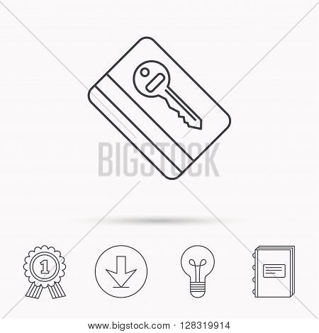 Electronic key icon. Hotel room card sign. Unlock chip symbol. Download arrow, lamp, learn book and award medal icons.