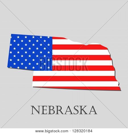 Map of the State of Nebraska and American flag illustration. America Flag map - vector illustration.