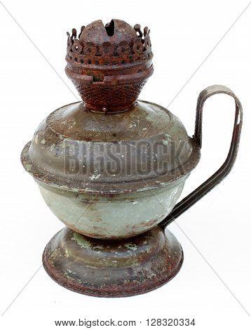 antique kerosene lamp old on a white background