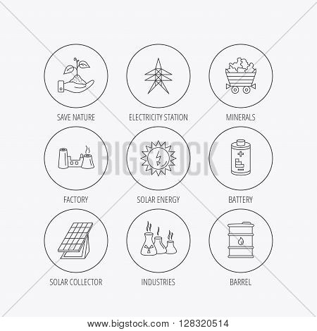 Solar collector energy, battery and oil barrel icons. Minerals, electricity station and factory linear signs. Industries, save nature icons. Linear colored in circle edge icons.