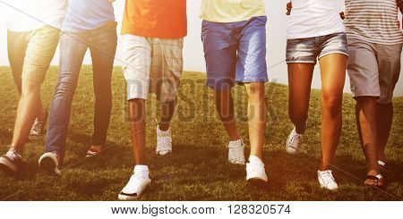 Group Friends Outdoors Holding Hands Unity Cooperation Concept