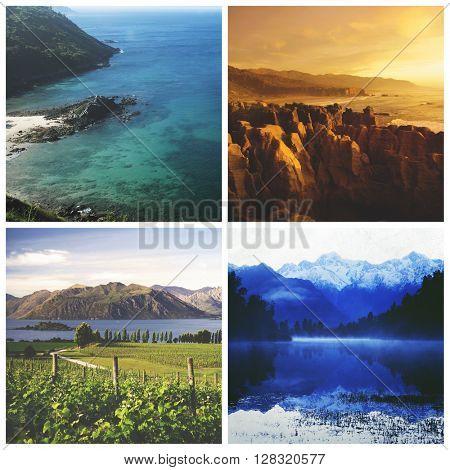 Travel Destination Cliff Suburb Nature Journey Concept