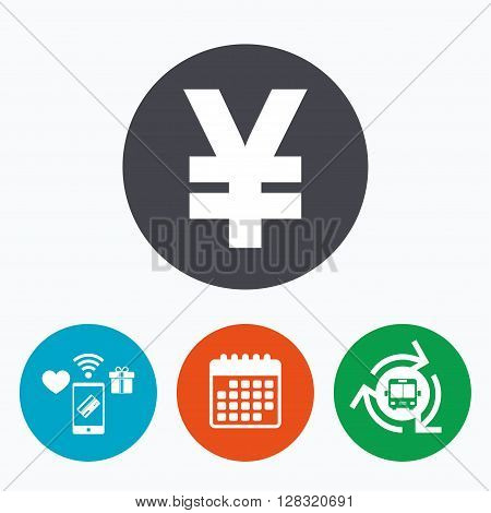 Yen sign icon. JPY currency symbol. Money label. Mobile payments, calendar and wifi icons. Bus shuttle.