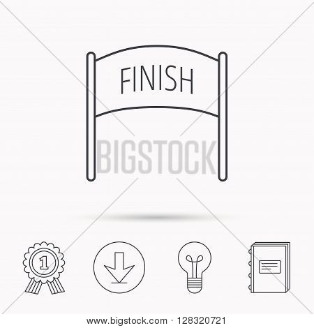 Finish banner icon. Marathon checkpoint sign. Download arrow, lamp, learn book and award medal icons.