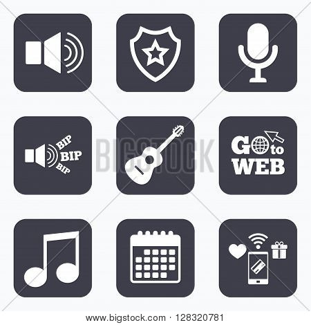 Mobile payments, wifi and calendar icons. Musical elements icons. Microphone and Sound speaker symbols. Music note and acoustic guitar signs. Go to web symbol.