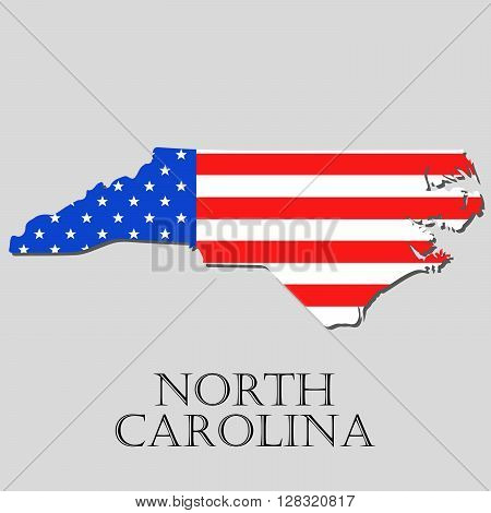 Map of the State of North Carolina and American flag illustration. America Flag map - vector illustration.