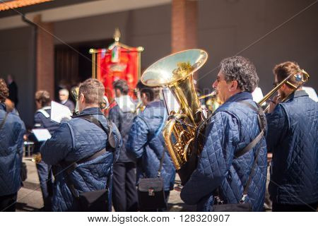 FOSSALON ITALY - APRIL 25: The marching band of Fossalon during the Asparagus festival on April 25 2016