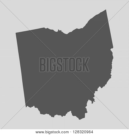 Black map of the State of Ohio - vector illustration. Simple flat map State of Ohio.