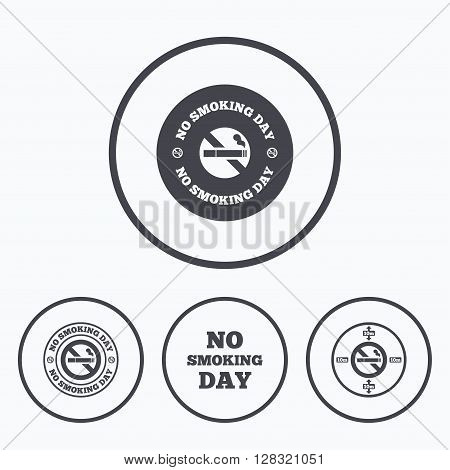 No smoking day icons. Against cigarettes signs. Quit or stop smoking symbols. Icons in circles.