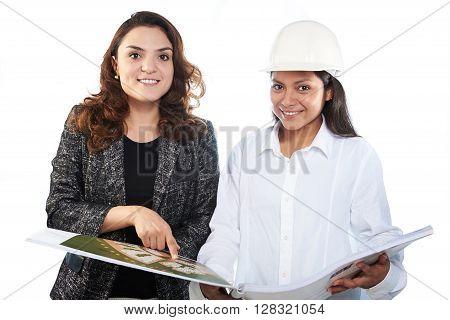 Woman Workers Look In Plan