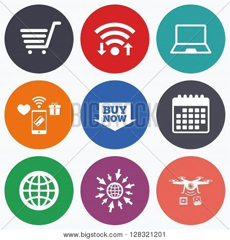 Wifi, mobile payments and drones icons. Online shopping icons. Notebook pc, shopping cart, buy now arrow and internet signs. WWW globe symbol. Calendar symbol.