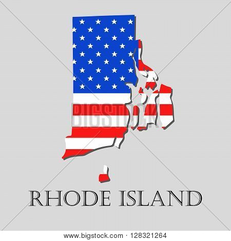 Map of the State of Rhode Island and American flag illustration. America Flag map - vector illustration.