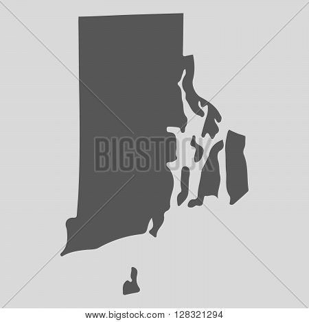 Black map of the State of Rhode Island - vector illustration. Simple flat map State of Rhode Island.