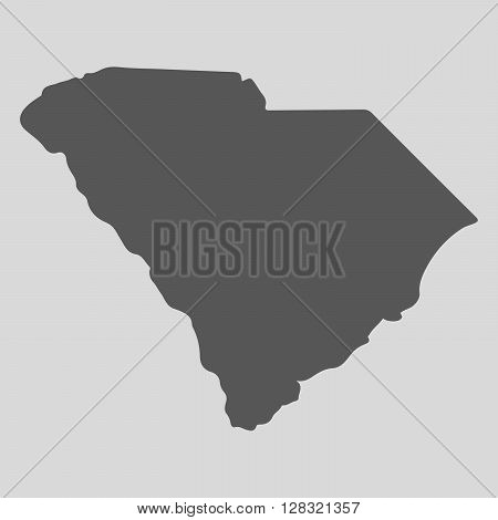 Black map of the State of South Carolina - vector illustration. Simple flat map State of South Carolina.