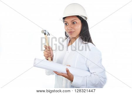 Funny Latino Girl With Hammer
