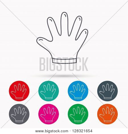 Rubber gloves icon. Latex hand protection sign. Housework cleaning equipment symbol. Linear icons in circles on white background.