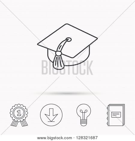 Graduation cap icon. Diploma ceremony sign. Download arrow, lamp, learn book and award medal icons.