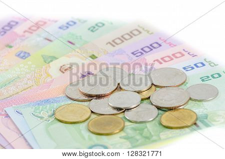 Thai baht money is isolated white background
