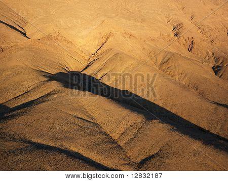 Aerial view of desert landscape.