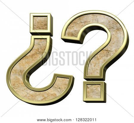 Question mark from sandstone with gold frame alphabet set isolated over white. 3D illustration.