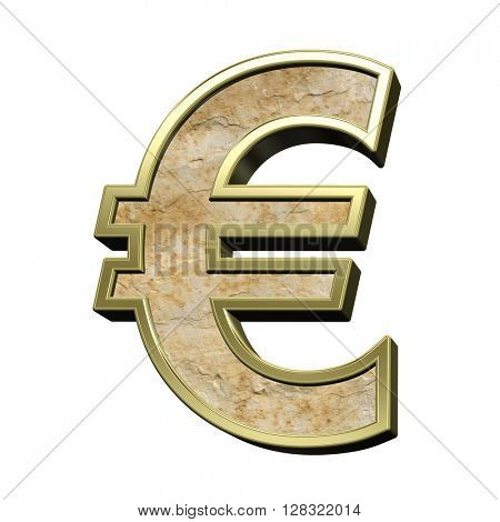 Euro sign from sandstone with gold frame alphabet set isolated over white. 3D illustration.