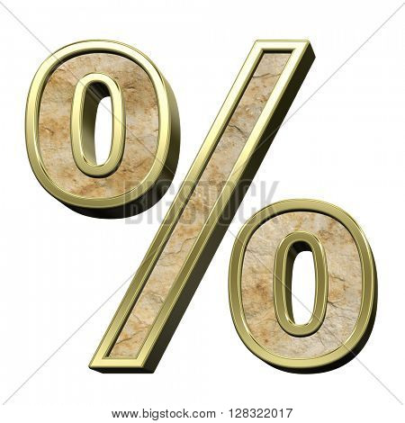 Percent sign from sandstone with gold frame alphabet set isolated over white. 3D illustration.
