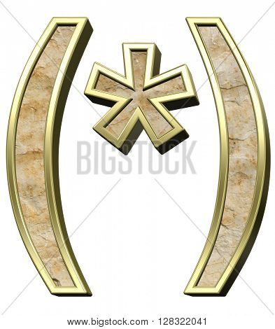 Parenthesis, asterisk from sandstone with gold frame alphabet set isolated over white. 3D illustration.