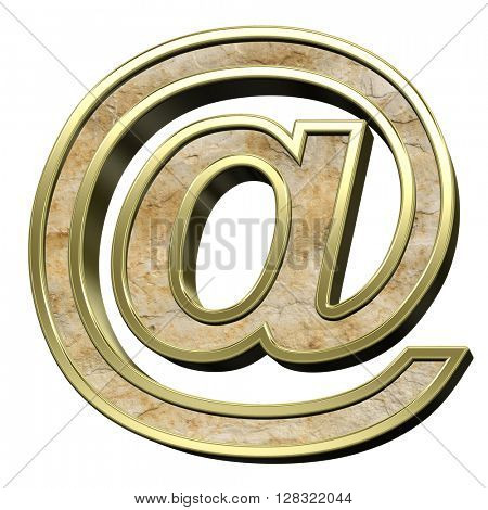 E-mail sign from sandstone with gold frame alphabet set isolated over white. 3D illustration.