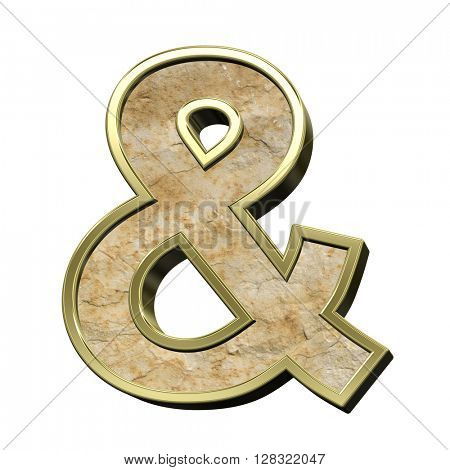 And sign from sandstone with gold frame alphabet set isolated over white. 3D illustration.