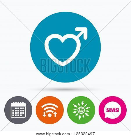 Wifi, Sms and calendar icons. Male sign icon. Male sex heart button. Go to web globe.