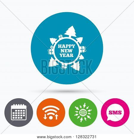 Wifi, Sms and calendar icons. Happy new year globe sign icon. Gifts and trees symbol. Full rotation 360. Go to web globe.