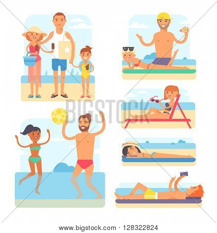 Beach people vector illustration.