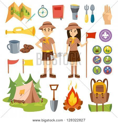 Boy scouts and camping vector set.