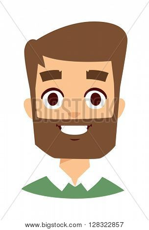 Happy man face vector illustration.