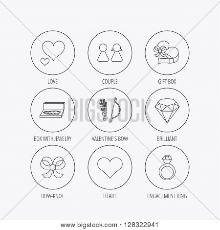 Love heart, brilliant and engagement ring icons. Bow, couple and gift box linear signs. Valentine amour arrows flat line icons. Linear colored in circle edge icons.