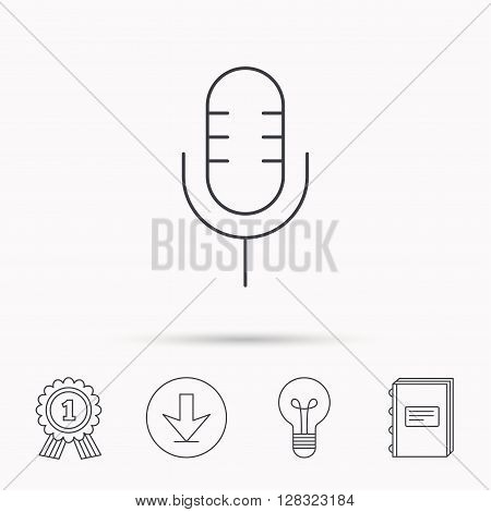 Retro microphone icon. Karaoke or radio sign. Download arrow, lamp, learn book and award medal icons.