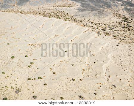 Aerial view of desolate torrid California desert.