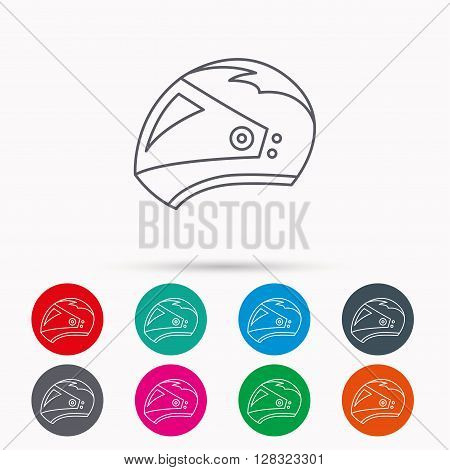 Motorcycle helmet icon. Biking sport sign. Linear icons in circles on white background.
