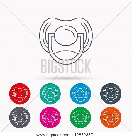 Pacifier icon. Nipple or dummy sign. Newborn child relax equipment symbol. Linear icons in circles on white background.
