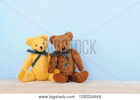 Two stuffed bears on blue background