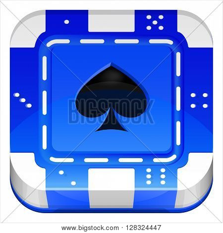 Casino Poker Chip Vector 3d square ui app icon. Vector Illustration