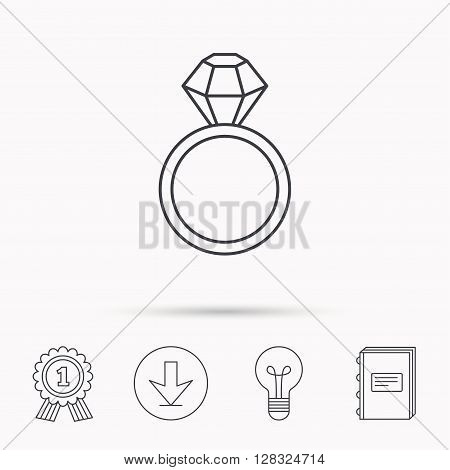 Ring with diamond icon. Jewellery sign. Download arrow, lamp, learn book and award medal icons.