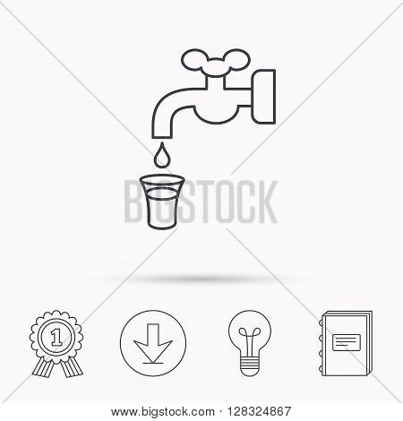 Save water icon. Crane or Faucet with drop sign. Download arrow, lamp, learn book and award medal icons.